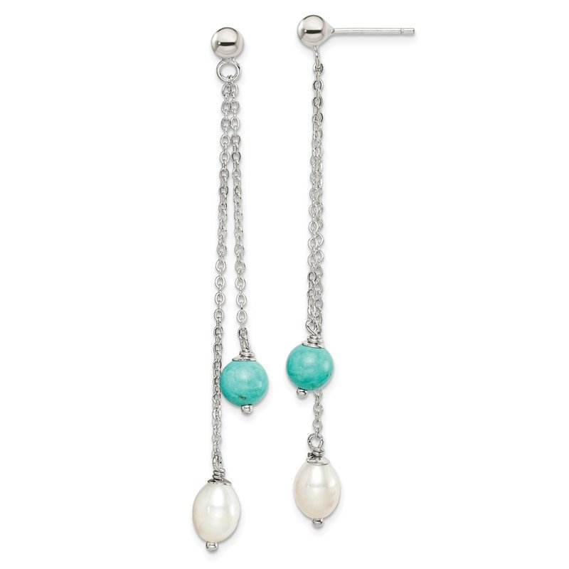 Quality Gold Sterling Silver Turquoise/FWC Pearl Post Dangle Earrings
