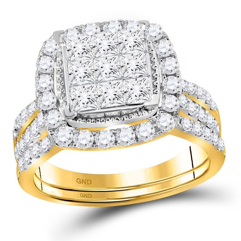 Gold-N-Diamonds, Inc. (Atlanta) 14kt Yellow Gold Womens Princess Diamond Halo Bridal Wedding Engagement Ring Band Set 1-3/4 Cttw