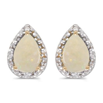 10k Yellow Gold Pear Opal And Diamond Earrings