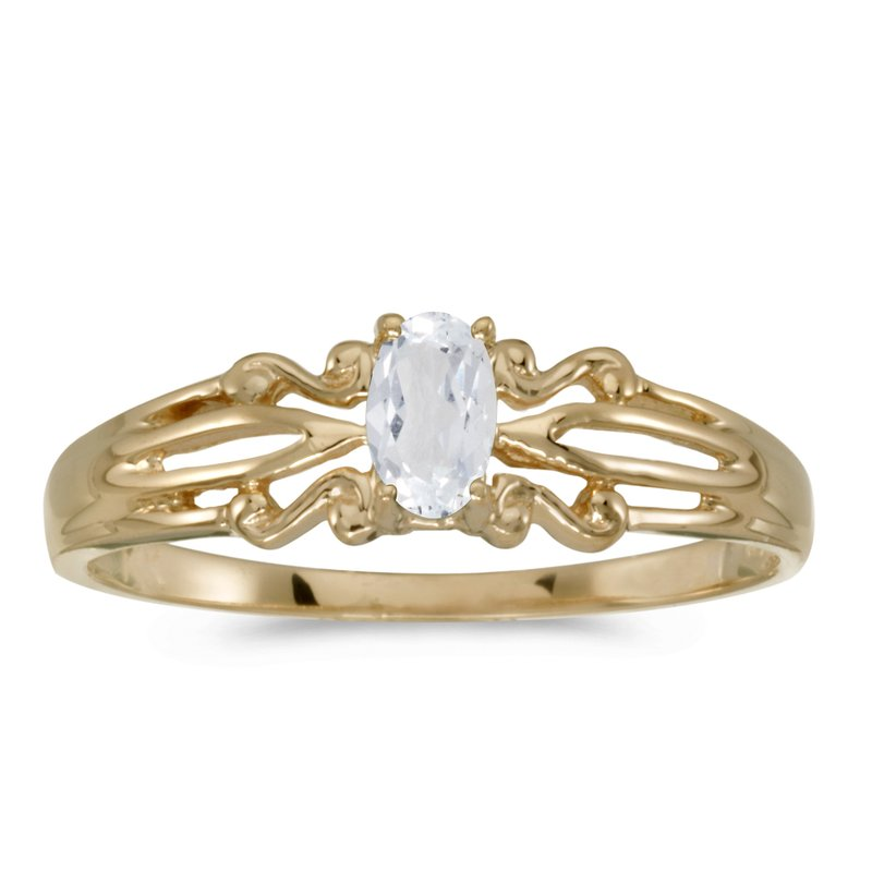 Color Merchants 10k Yellow Gold Oval White Topaz Ring