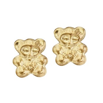 14K Yellow Gold Baby Bear Screwback Earrings