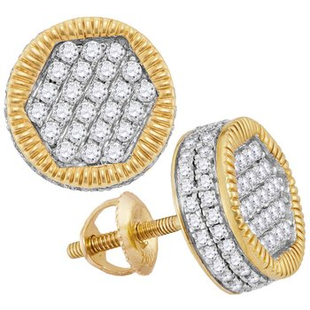 10kt Yellow Gold Mens Round Diamond Circle 3D Cluster Stud Earrings 1.00 Cttw