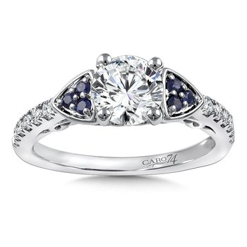Diamond & Blue Sapphire Engagement Ring Mounting in 14K White Gold with Platinum Head (.19 ct. tw.)