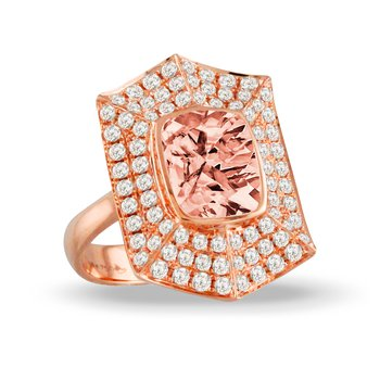 Rose Morganite & Diamond Ring