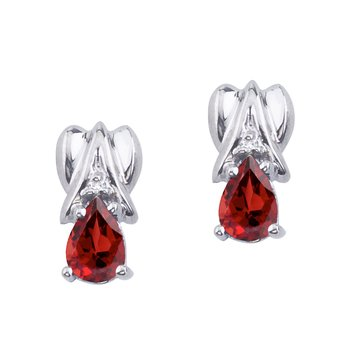 14k White Gold Garnet and Diamond Pear Shaped Earrings