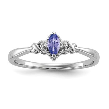 Sterling Silver Rhodium Diam. and Tanzanite Ring