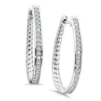 Prong set Diamond Hoops in 14k White Gold (1/2 ct. tw.) JK/I1