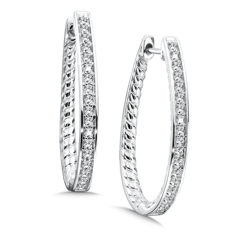 SDC Creations Prong set Diamond Hoops in 14k White Gold (1/2 ct. tw.) JK/I1