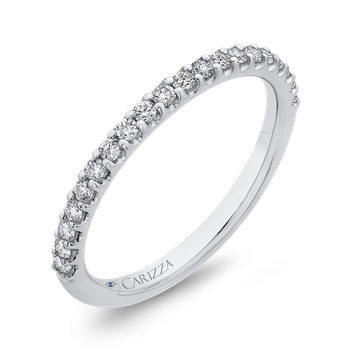 18K White Gold Half-Eternity Round Diamond Wedding Band