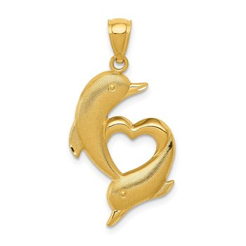 14K Gold Polished and Textured Dolphins W/Heart Pendant