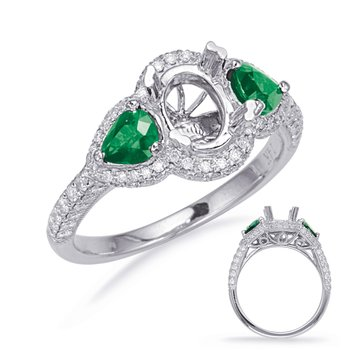 White Gold Emerald & Diamond Eng Ring