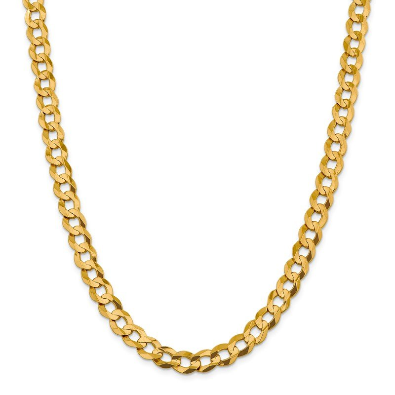 Quality Gold 14k 9.4mm Lightweight Flat Cuban Chain