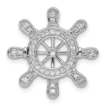 14k White Gold 1/4ct. Diamond Ship Wheel Pendant