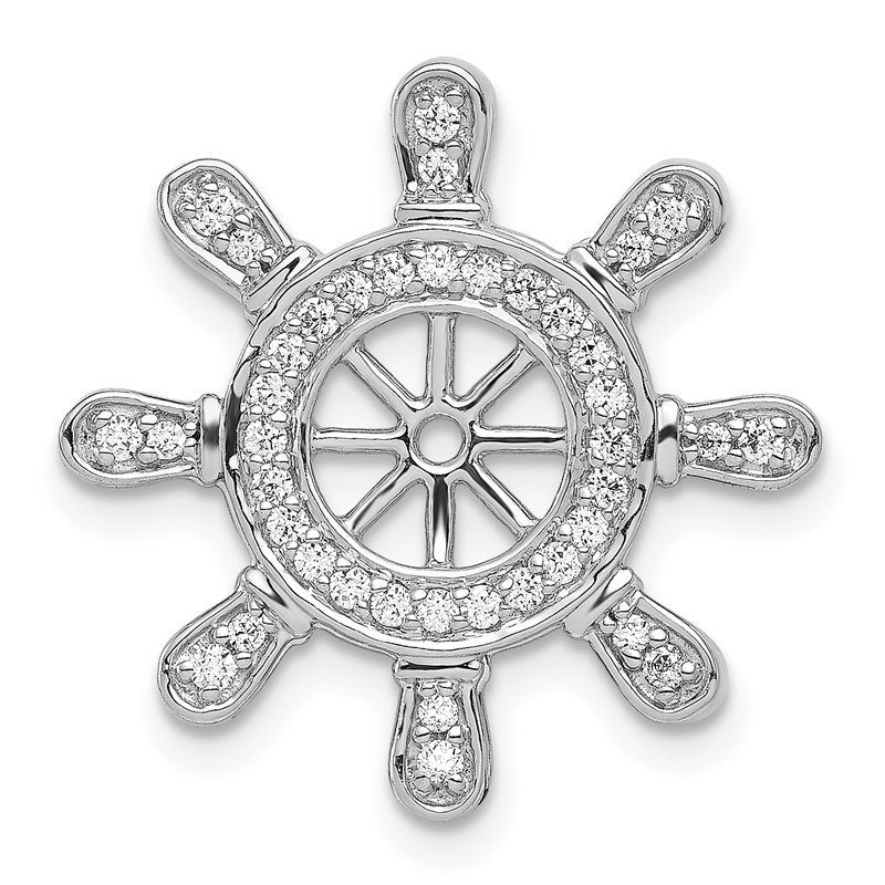 Quality Gold 14k White Gold 1/4ct. Diamond Ship Wheel Pendant