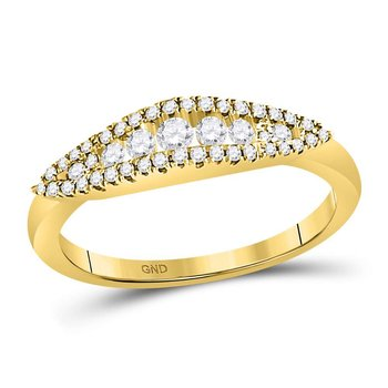 14kt Yellow Gold Womens Round Diamond Fashion Band Ring 3/8 Cttw