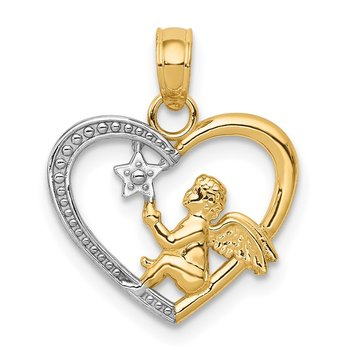 14K w/Rhodium Angel in Heart w/ Star Pendant