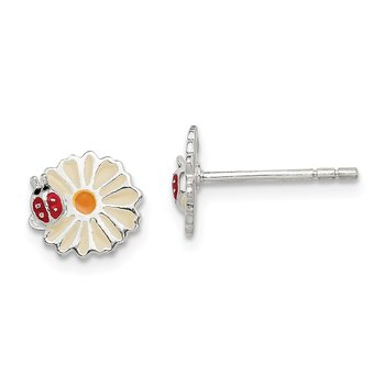 Sterling Silver Enamel Flower Kid's Post Earrings