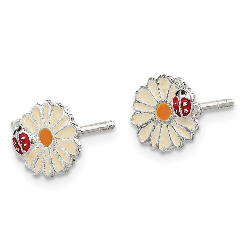 Quality Gold Sterling Silver Enamel Flower Kid's Post Earrings