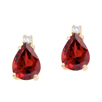 14k Yellow Gold Pear Shaped  Garnet and Diamond Earrings