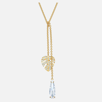 Tropical Necklace, White, Gold-tone plated