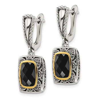 Sterling Silver w/ 14k Polished Onyx Earrings