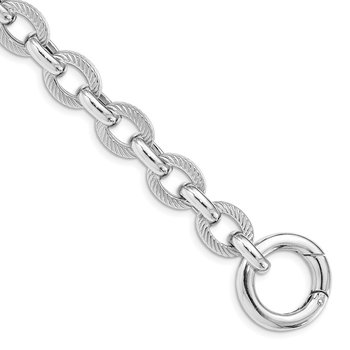 Sterling Silver Rhodium Plated Polished Textured Fancy Link Bracelet