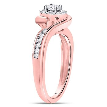 14kt Rose Gold Womens Round Diamond Solitaire Bridal Wedding Engagement Ring 1/2 Cttw