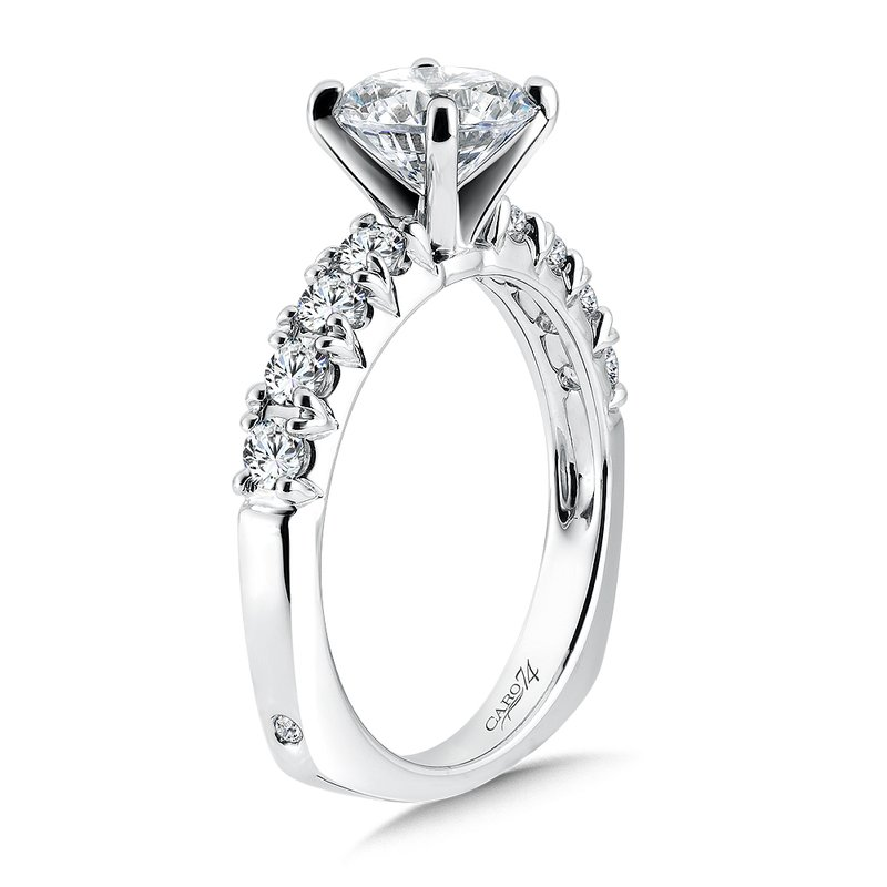 Caro74 Classic Elegance Collection Diamond Engagement Ring With Side Stones in 14K White Gold with Platinum Head (1-1/2ct. tw.)