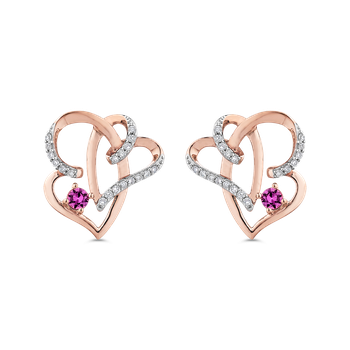 10K Rose Gold 1/5 Ct Diamond with 1/4 Ct Pink Sapphire Fashion Earrings