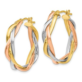 Leslies 14k Tri-color Braided Hoop Earrings
