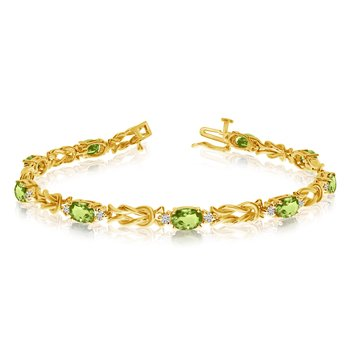 14k Yellow Gold Natural Peridot And Diamond Tennis Bracelet
