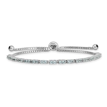 Sterling Silver Rhod-plated March Light Blue CZ Adjustable Bracelet