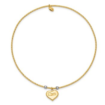 14K Two-tone Diamond-Cut Heart w/Mom Bangle