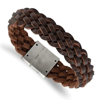 Stainless Steel Brushed Brown Leather Braided 8.5in Bracelet
