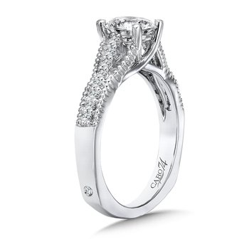 Engagement Ring With Diamond Side Stones in 14K White Gold (1ct. tw.)