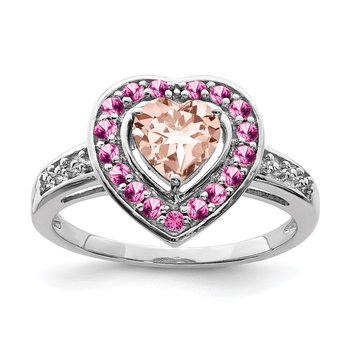Sterling Silver Rhodium Morganite Heart Ring
