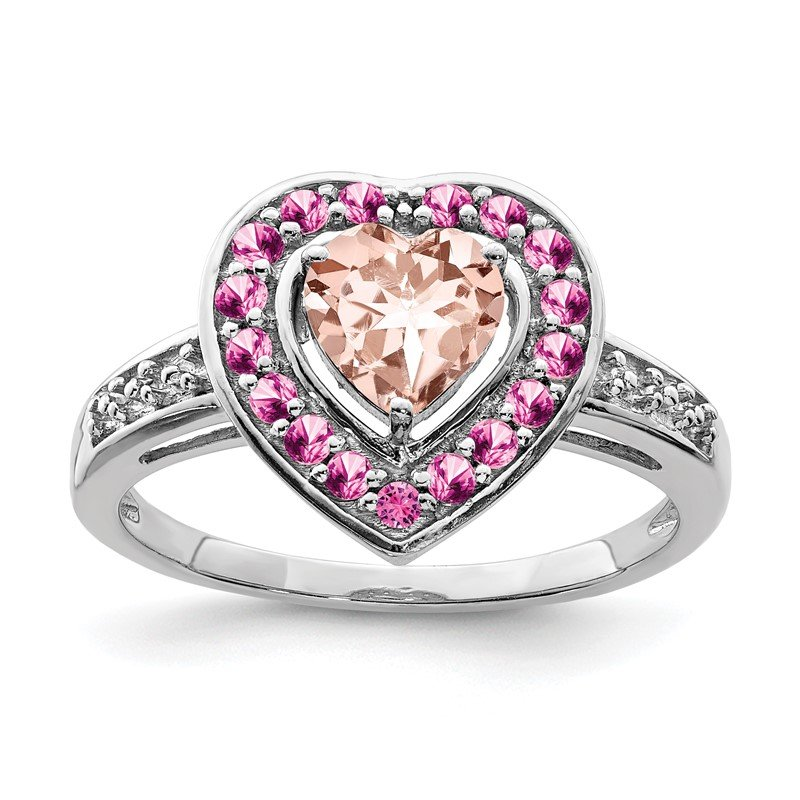Quality Gold Sterling Silver Rhodium Morganite Heart Ring