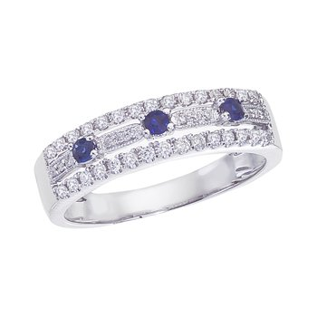 14k White Gold Sapphire and .28 ct Diamond Band