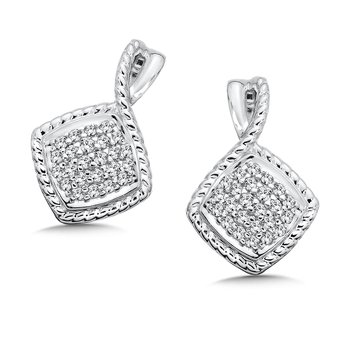 Sterling Silver White Diamond Earrings