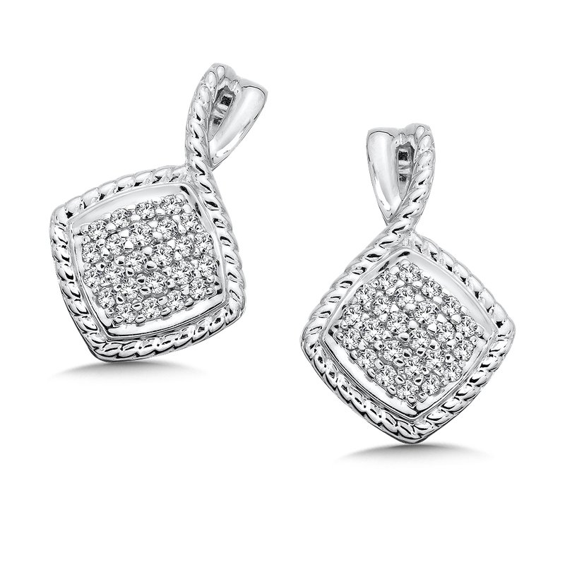 Colore Sg Sterling Silver White Diamond Earrings