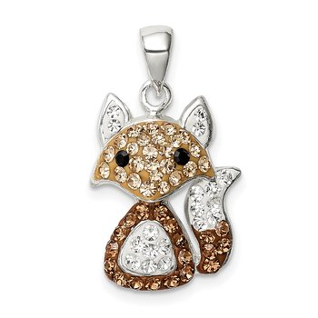 Sterling Silver Tan Preciosa Crystal Fox Pendant