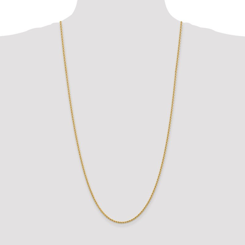 Quality Gold 14k 2.25mm Regular Rope Chain Anklet