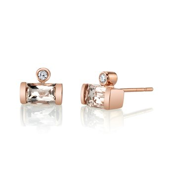 MARS 27264 Stud Earrings, 0.06 Dia, 1.06 Morganite