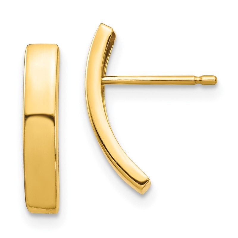 Quality Gold 14k Curved Bar Post Earrings