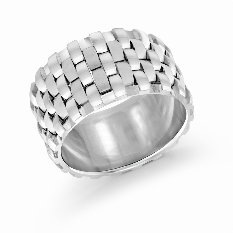 Mardini 12mm all white gold triple interlock center band