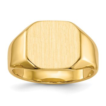 14k 12.5x11.0mm Closed Back Signet Ring