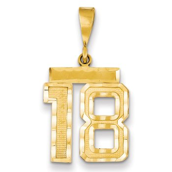14k Medium Diamond-cut Number 18 Charm