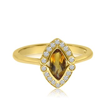 14K Yellow Gold Marquis Citrine and Diamond Ring