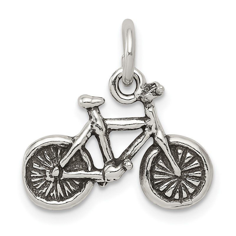 Quality Gold Sterling Silver Antiqued Bicycle Charm