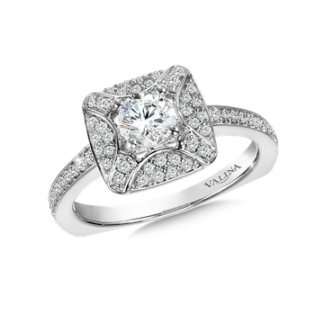 Diamond Halo Engagement Ring Mounting in 14K White Gold (.26 ct. tw.)